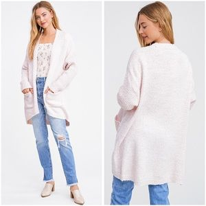 Soft blush boulce open front cardigan